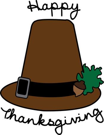 pioneer: Nous avons un chapeau traditionnel Pilgrim avec une d�coration pas si typique! Un spray de ch�ne minuscule faire ce chapeau Pilgrim un compl�ment parfait � ajouter une touche sp�ciale Thanksgiving.