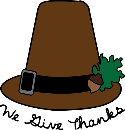 flair: We have got a traditional Pilgrim hat with a not so typical decoration!  A tiny oak spray make this Pilgrim hat a perfect addition to add special Thanksgiving flair. Illustration