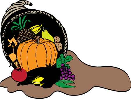 horn of plenty: Our colorful cornucopia of tasty produce creates a traditional autumn decoration.  Try it on a table runner for a stunning effect. Illustration