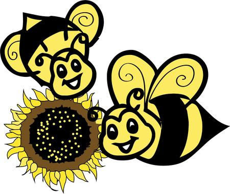 brighter: Happy little bees make a sunflower bloom even brighter.  These sweet little bugs are an exceptional way to create something unique and special like a garden flag. Illustration