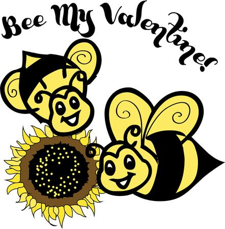 exceptional: Happy little bees make a sunflower bloom even brighter.  These sweet little bugs are an exceptional way to create something unique and special like a garden flag. Illustration