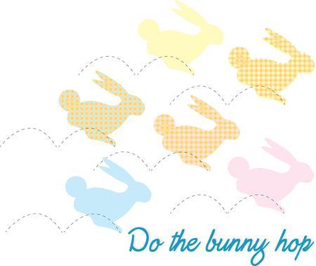 cottontail: Saltando conejitos de todos los colores a�aden un toque de pasteles de la primavera. Crear un imponente revestimiento Cesta de Pascua con estos preciosos conejos.