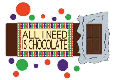 casse-cro�te: D�baller un vrai r�gal avec cette barre de chocolat. Ajouter � la signalisation sp�ciale pour le snack-bar de la lev�e de fonds de l'�quipe! Illustration