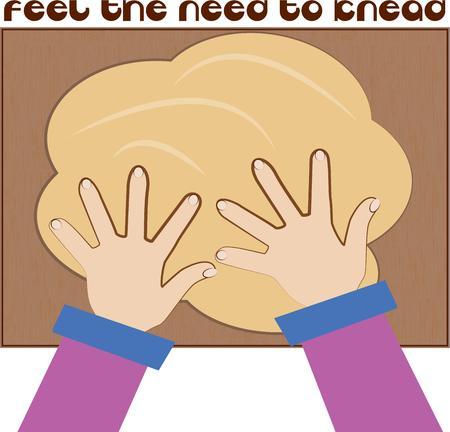 kneading: Produrre pasta � un'arte della sanzione panettiere. Queste mani che impastano creano la pagnotta di pane perfetto. Vettoriali