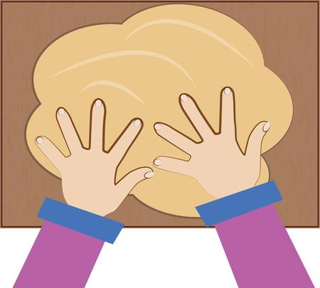 kneading: Making dough is an art of the fine baker.  These kneading hands create the perfect loaf of bread.