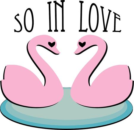 loosely: These two pink swans come together to form a loosely designed heart between them.  We love this design on towels or bath accessories.