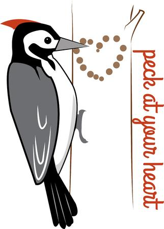 owes: Even the woodpecker owes its success to the fact that he used his head to create this motif of love.  Add some rhinestones over the heart for an amazing result.