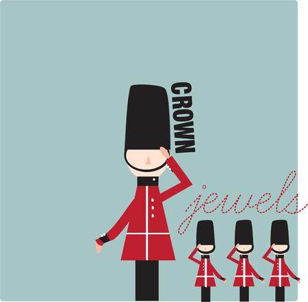 beefeater: The palace guards stand at attention in this abstract design.  Use them on a travel bag or a decorative throw pillow - super cute!