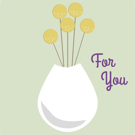 stylistic: Stylistic round stems accent this simple white vase.  Illustration