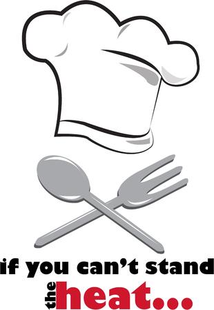 kitchen ware: Every chef needs a professional chefs hat and tools of the trade.  This kitchen ware motif is perfect for your favorite chef. Illustration