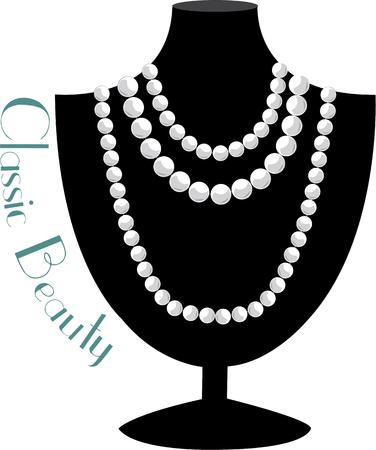 memorable: Strands of classic pearls are a perfect and memorable gift.  This stand of pearls is a lovely decoration for a jewelry bag or a gift bag containing this special gift. Illustration