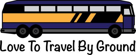 await: Fun travels await aboard a special bus.  This colorful bus is such a fun way to decorate a travel bag or duffle.