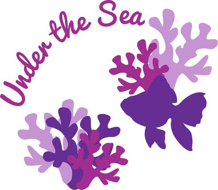 polyp: Silhouettes of coral with a fan tail fish make a lovely addition to aquatic themed dcor.