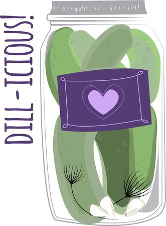 pickles: Everyone enjoys the taste of crunchy classic pickles.  These lovely jar of pickles adds a unique charm to your kitchen towels and oven mitts. Illustration