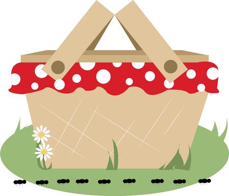outing: Here is a perfect basket for a perfect picnic.  This basket is all the more pretty with its polka dot lining.  Create the perfect outing with this design on your picnic gear.