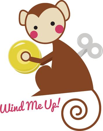 primate: For hours of non stop fun for your little ones select this wind up toy.  He is super cute on shirts or baby bedding. Illustration