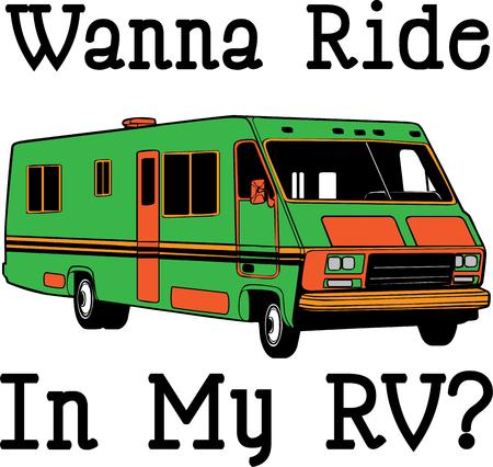 swag: Explore in style with this super size RV.  Add this design to special travel bags or shirts for the travel swag. Illustration