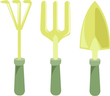 cultivator: Use these garden implements to create an evergreen landscape around your house.  The design is perfect for garden aprons and bags.  What a great gift for a gardener!