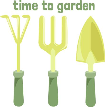 implements: Use these garden implements to create an evergreen landscape around your house.  The design is perfect for garden aprons and bags.  What a great gift for a gardener!