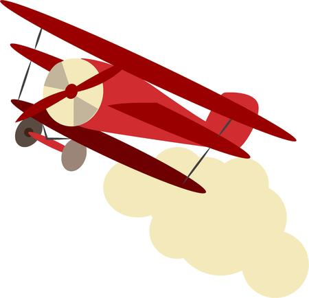 biplane: A classic bi-plane soars across the sky snd through the clouds.  Illustration