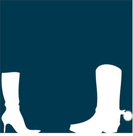 flair: Spurs and stilettos, his and her boots.  This sharp silhouette design is just perfect for adding Western flair to home d?cor. Illustration