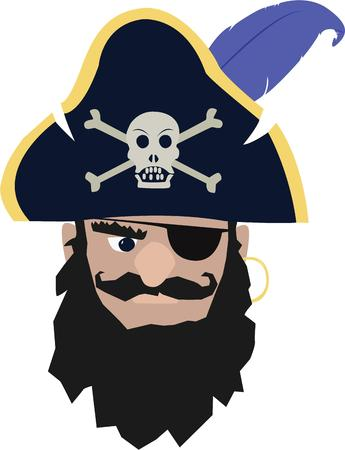 privateer: Beware!  A mean pirate lurks.   Illustration