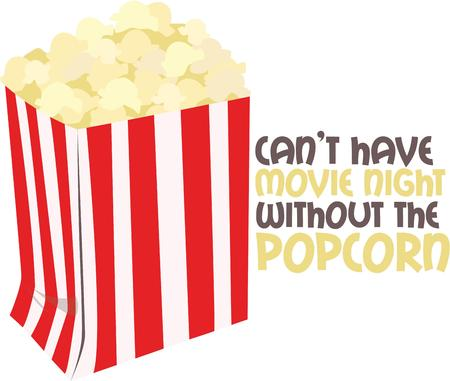 buttered: A perfect treat - tasty and healthy popcorn.  Grab a bag and enjoy your favorite movie. Illustration