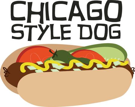 dog treat: A hot dog with all the trimmings is an amazing treat.   Illustration
