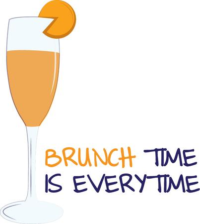champagne orange: A delightful start of the day with this mimosa cocktail along with your morning brunch.  Super smart on placemats or cocktail napkins. Illustration