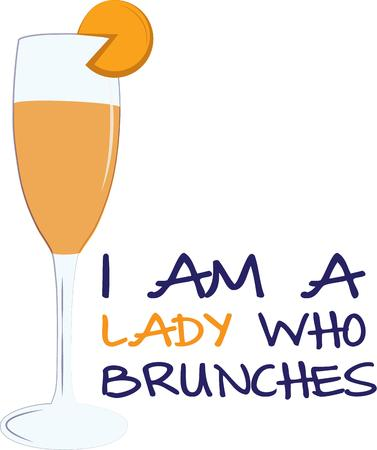 placemats: A delightful start of the day with this mimosa cocktail along with your morning brunch.  Super smart on placemats or cocktail napkins. Illustration