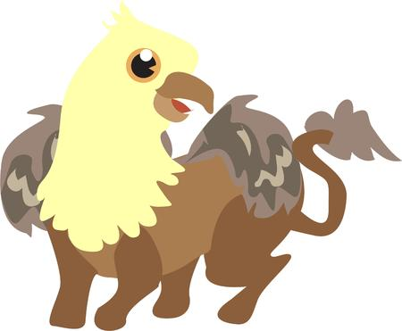 rolled up: Here are many unique creatures all rolled up into one - the griffin.  Illustration