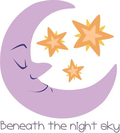 slumber: Good night, sleep tight, the moon and stars watch over your slumber.  Use this sweet moon and stars in your nursery for a sweet touch.