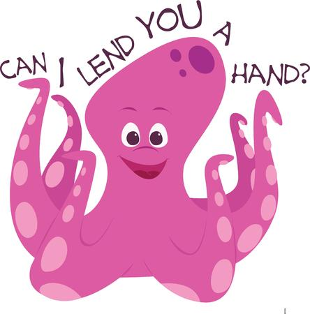 indeed: This cartoon octopus is a funny animal indeed.  This bright pink fish is sure to add a touch of humor to your projects.