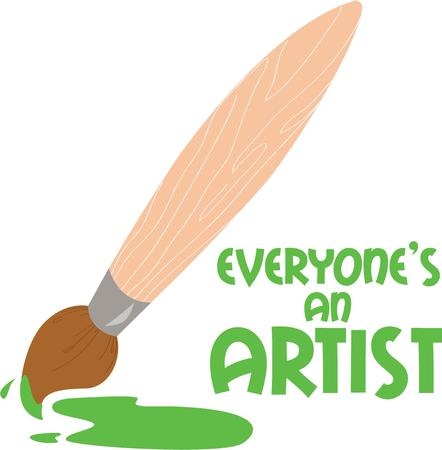 masterpiece: An artist is at work here.  Create a lovely masterpiece with this paintbrush. Illustration