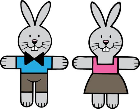 cottontail: Diversi�n peque�o par de conejitos en un tama�o peque�o! Claro que te hacen sonre�r cuando son una parte de su sala d? Cor!