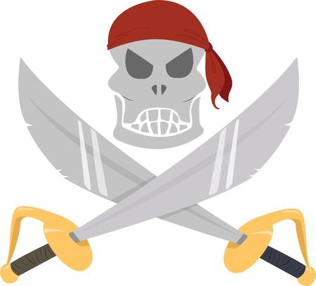 skull and crossed bones: Este motivo Jolly roger es una decoraci�n de la diversi�n para un evento de tem�tica pirata. Justo lo que se necesita para llevar el esp�ritu del bucanero a su evento. Vectores