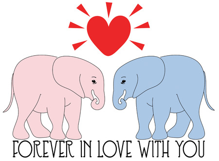 sweetest: Create an unexpected Valentine with these two elephant sweethearts. Simply the sweetest Illustration