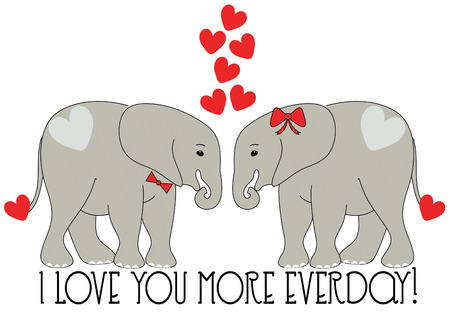 pachyderm: Create an unexpected Valentine with these elephant sweethearts.  Illustration