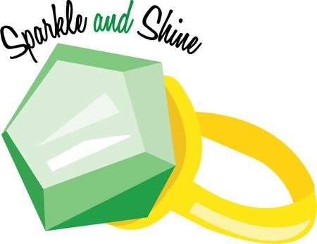 emerald gemstone: A huge emerald ring creates green envy.  This gem is indeed a treasure. Illustration
