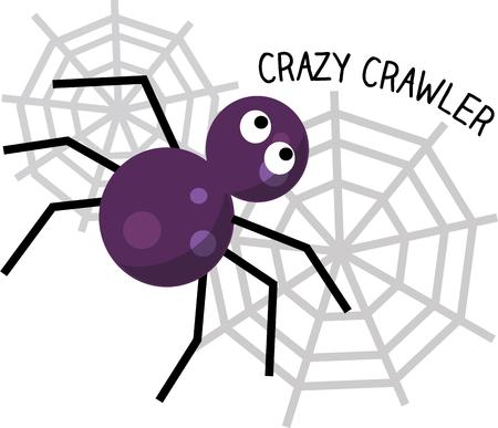 eight legs: This little spider is busy spinning a special web for Halloween.  Choose him to help decorate for your spooky festivities.