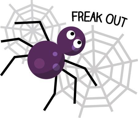 viuda: Esta peque�a ara�a est� ocupada tejiendo una red especial para Halloween. Elija �l para ayudar a decorar para sus festividades espeluznantes. Vectores