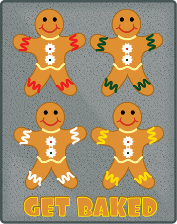 gingerbread: Our baking sheet is filled with happy gingerbread men.
