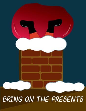 kris kringle: Oh no Santa is stuck in this snow covered chimney