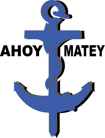 marine scene: Secure your boat in any sea with this creatively designed anchor.  The solid color with perfect shading creates the perfect nautical feel