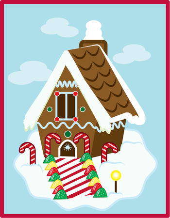 gingerbread: The perfect gingerbread house covered with snow and sweets adds a unique charm to your holiday home.  Perfect embellishment for Christmas apparel or table linens. Illustration