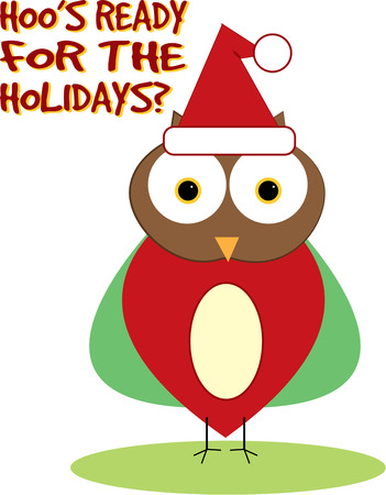 holiday tradition: Add a trendy touch to holiday tradition with this Santa hat owl.   Illustration