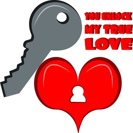 door lock love: You are the only one that holds the key to my heart.   Illustration