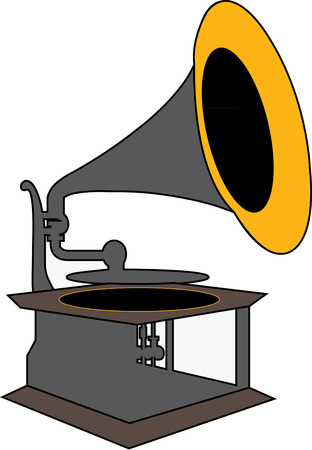 music machine: This old time gramophone plays sounds of days gone by.   Illustration