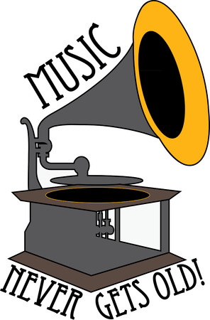 sounds: This old time gramophone plays sounds of days gone by.  Illustration