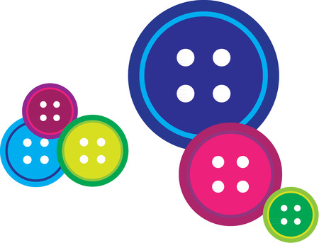 stocked: Buttons in every color are standard to any well stocked sewing box.  Illustration